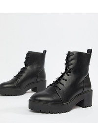 ASOS DESIGN Wide Fit Raider Chunky Lace Up Boots