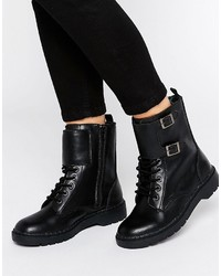 Black lace up flat boots original 11409053