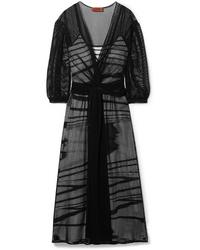 Missoni Layered Wrap Effect Open Knit Midi Dress