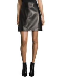 Alexander McQueen A Line Leather Skirt