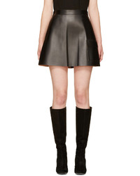 MSGM Black Leather Skirt
