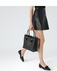 Reiss Cheya Leather A Line Mini Skirt | Where to buy & how to wear