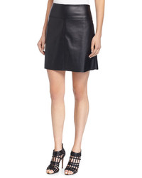 Max Studio Faux Leather A Line Skirt Black