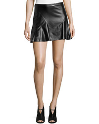 Derek Lam 10 Crosby Faux Leather Curved Seam A Line Skirt Black