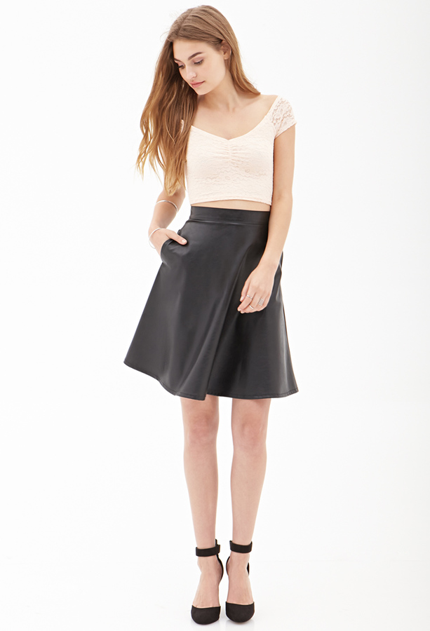 forever 21 faux leather a line skirt where to buy how