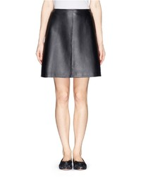 Tory Burch Linley Scallop Edge A Line Leather Skirt