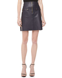 Michael kors plonge leather a line zip front skirt michl kors medium 450203