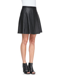 Nm lambskin leather a line skirt medium 82947