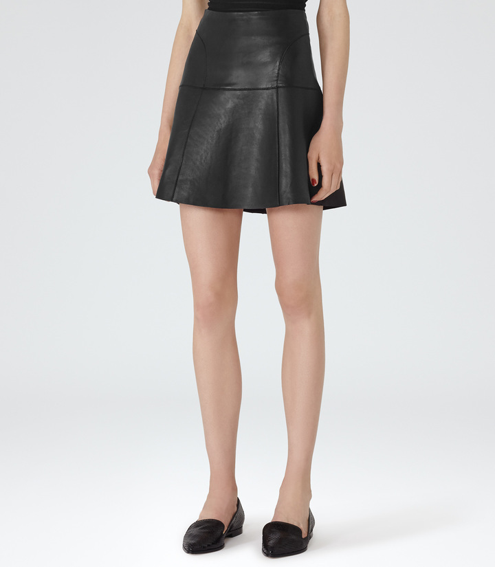 Reiss Cheya Leather A Line Mini Skirt   Where to buy & how to wear