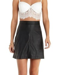 Charlotte Russe Sunday Rumors Faux Leather A Line Mini Skirt
