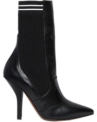 Fendi 105mm Leather Knit Ankle Boots