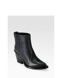 Acne Studios Donna Leather Cowboy Ankle Boots Black