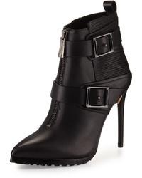 BCBGMAXAZRIA Alec Leather High Heel Bootie Black