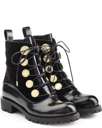 Alexander McQueen Leather And Velvet Ankle Boots