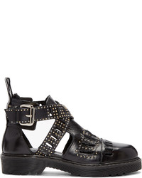 MCQ Alexander Ueen Black Dalston Cut Out Ankle Boots