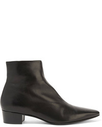 The Row Ambra Leather Ankle Boots Black