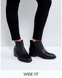 Asos Ample Wide Fit Leather Zip Ankle Boots