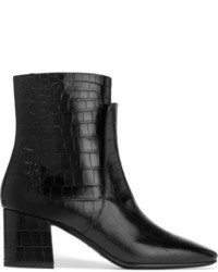 Givenchy Ankle Boots In Black Croc Effect Leather