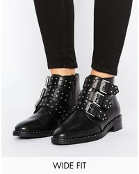 Asos Asher Wide Fit Leather Flat Ankle Boots