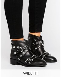 Asos August Wide Fit Leather Hardware Ankle Boots