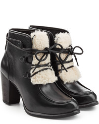 UGG Australia Leather Ankle Boots With Shearling