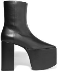 Balenciaga Leather Platform Ankle Boots Black