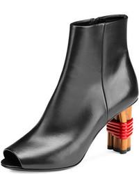 Balenciaga Wooden Heel Open Toe Bootie Noir