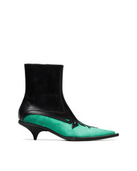 Haider Ackermann Black And Green Laser Cut 50 Leather Boots