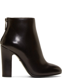 Dolce & Gabbana Black Buffed Leather Ankle Boots