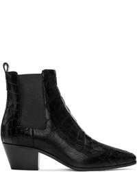 Saint Laurent Black Croc Embossed Rock Boots