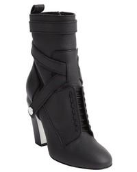 Fendi Black Leather Faux Lace Front Ankle Boots