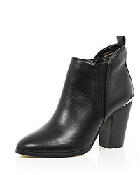 River Island Black Leather Heeled Chelsea Ankle Boots