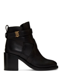 Burberry Black Leather Monogram Pryle Boots