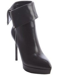 Saint Laurent Black Leather Point Toe Janis Cuff Ankle Boot