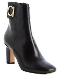 Salvatore Ferragamo Black Leather Rupert C Gancio Charm Side Zip Ankle Boots