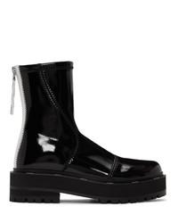 Fendi Black Patent Faux Leather Biker Boots