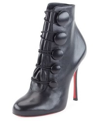 Christian Louboutin Booton Leather Red Sole Button Bootie Black