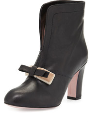 RED Valentino Bow Split Front Leather Bootie Black