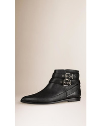 Burberry Buckle Detail Leather Ankle Boots