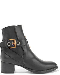 Chloé Buckled Leather Ankle Boots Black