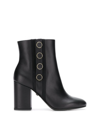 Grey Mer Button Detail Ankle Boots