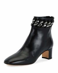 Valentino Chain Trim Leather Bootie Black