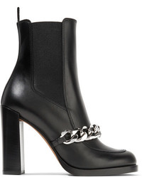 Givenchy Chain Trimmed Leather Ankle Boots Black