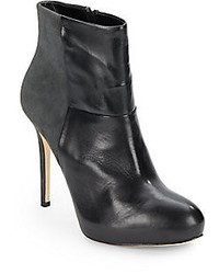 Charles David Ynez Leather Suede Ankle Boots