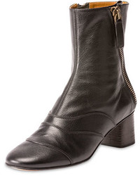 Chloé Chloe Side Zip Leather 50mm Ankle Boot Black