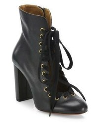 Chloé Chloe Miles Whipstitch Leather Block Heel Booties