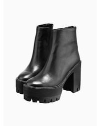 Choies Leather Platform Zip Ankle Boots