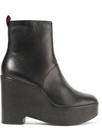 Clergerie Bisouto Leather Platform Ankle Boots Black