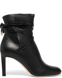 Jimmy Choo Dalal Elaphe Trimmed Leather Ankle Boots Black