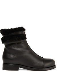 Jimmy Choo Denver Shearling Trimmed Leather Ankle Boots Black